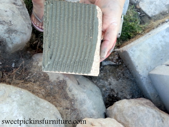 To cut the bricks, we just used a tile saw and a grinder - these were really easy to cut.