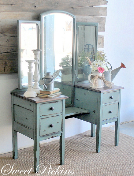 Moody Blue Antique Vanity Dressing Table Before