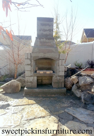 {Backyard fireplace} - Part 1 | Sweet Pickins Furniture on Building Outdoor Fireplace With Cinder Block id=52425