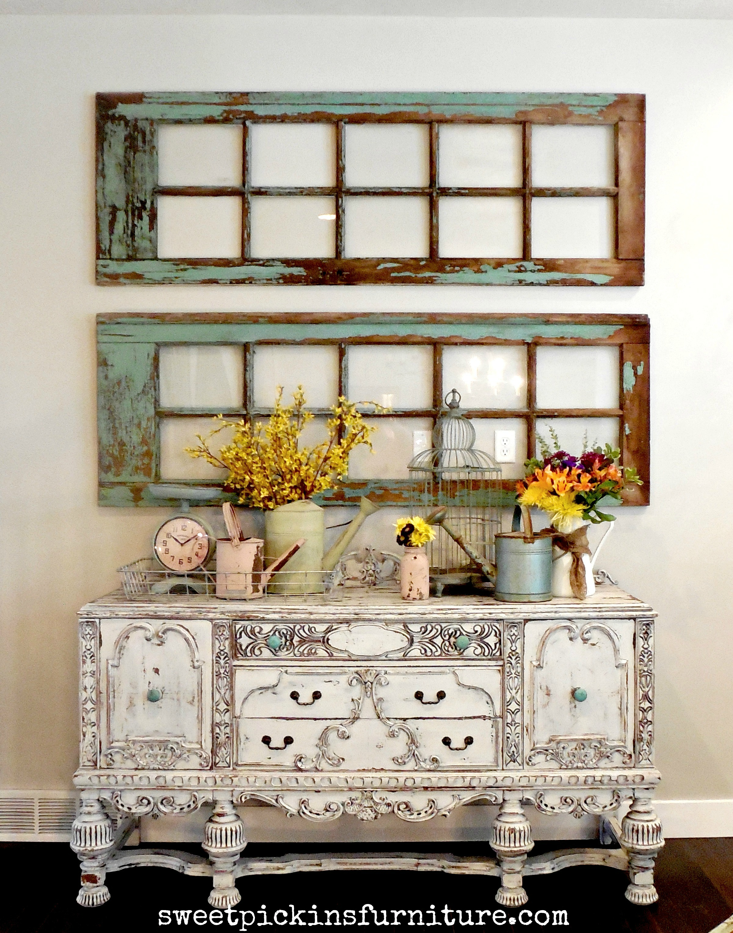 Refinished antique buffet updated family room pics for Painted tables decorating ideas