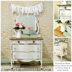 Sweet Pickins Milk Paint - Flour Sack and clear wax